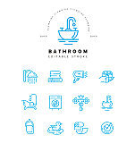 Vector icon and logo of bathroom. Editable outline stroke