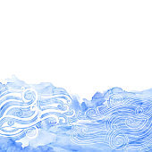 Vector hand-drawn waves and blue watercolor fragment on a white background. Marine background. Illustration with space for text, can be used creating card or invitation card.