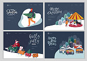 Landing page template with Christmas holiday outdoor fair or street market on town square invitation card. Characters people walking between decorated stalls or kiosks. Holiday New year