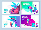set of Landing page template about effective house organization. People character couple men and woman clean the house, efficiently organize a wardrobe