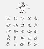 Vector icon and logo for meat and grill cafe or restaurant