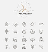 Vector icon and logo for natural flour product and bacery