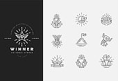 Vector icon and logo winner and champion. Editable outline stroke