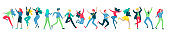 Jumping character in various poses. Happy positive young men or women rejoicing together, happiness, freedom