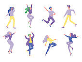 Collection of dancers. Men and women performing dance at school, studio. Male and female characters.