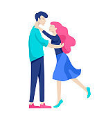 Vector people character. Friends and couple hugging, walking and spend time tygether
