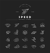 Vector icon and logo for speed motion. Editable outline stroke size