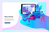 Landing page template of Online Shopping. Modern flat design concept of web page