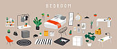 Set for badroom with stylish comfy furniture and modern home decorations in trendy Scandinavian or hygge style. Cozy Interior furnished home plants for sleeping. Flat cartoon vector