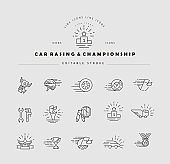 Vector icon and logo for car racing and championship. Editable outline stroke