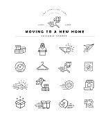 Vector icon and logo for moving to a new home. Editable outline stroke