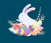 Easter Illustration with painted eggs and rabbit. Set of cute Easter cartoon character. Vector Spring holiday celebration