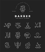 Vector icon and logo for barbershop and beauty saloon