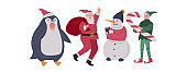 Christmas holiday set with Santa, elf, penguin and snowman. New Year greeting card. Winter festive Vector cartoon