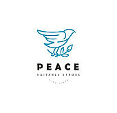 Vector icon and logo peace and charity. Editable outline stroke