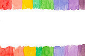 Watercolor hand-drawn rainbow, colorful frame. White blank template for design. Copy space.
