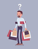 Shopaholic man buying too much