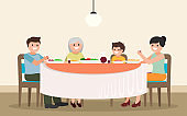 Family dinner vector illustration. Cartoon characters  father, mother, son and grandmother having meal  together. Flat style. Isolated.