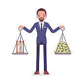 Time and money good balance for businessman