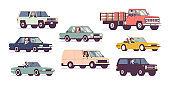 Cars and drivers set, business transportation, urban trip