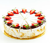Sponge cake with strawberries and cream. Selective focus.