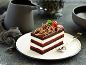 Chocolate cake with black forest cherries.