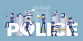 Police giant letters with male, female officers