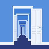Doors open in many rooms