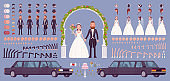 Bride and groom on a wedding ceremony creation kit