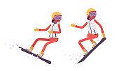 Sporty woman snowboarding, enjoys winter outdoor activities on ski resort