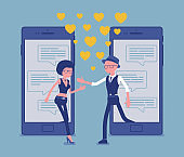 Dating from mobile application, pair match on smartphone screen chat