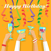 Happy birthday vector illustration with confetti and streamers, human hands raising glasses. Card template