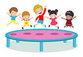 Kids jumping on trampoline. child Practicing Different Sports And Physical Activities In Physical Education Class Vector flat cartoon illustration