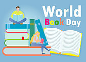 World Book Day, small people reading books ,Education Concept, Happy Book Day Vector Illustration