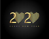 Gold Happy New Year 2020 with Heart. Modern 2020 Text Design.Vector New Year illustration.