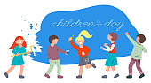 Children with brushes and a roller paint the wall blue. World Children's Day. Bright flat illustration with a group of smiling kids.