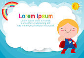 Superhero kid on background. Template for advertising brochure, your text. Cute little Superhero Children's. Kids and frame, child and frame. Vector