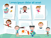 cute kids education, school kids or back to school, Template for advertising brochure with your text, message. Vector illustration