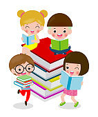 Happy cartoon children while Reading Books, i love book, cute kids reading a book isolated on white background Vector Illustration