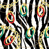 Fashion Seamless Pattern with Golden Chains and zebra print. Fabric Design Background with Chain, Metallic accessories. Luxurious linear print with fashion accessories.