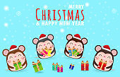 Merry Christmas and Happy new year 2020 greeting card with cute mouse. Rat zodiac. year of the Rat  Symbol, flyers, posters, banners and calendar. Isolated on blue vector cartoon character