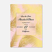 Minimalist botanical wedding invitation card template design. Vector decorative greeting card or invitation design background. Wedding Invitation, save the date, rsvp, invite card.