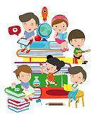 set of school kids in education concept, back to school,children in classroom. Vector Illustration.