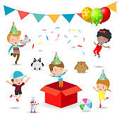 vector Illustration of happy Birthday Party, Kids Party, birthday celebration, birthday party for children