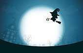 Happy Halloween, witch silhouette on the moon, Template for advertising brochure. greeting card happy halloween party poster and theme design background Vector Illustration