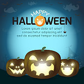 Happy Halloween, pumpkin silhouette under the moonlight, Template for advertising brochure. greeting card happy halloween party poster and theme design background Vector Illustration