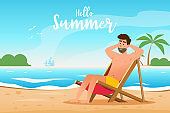 summer concept. a man lies on a lounger at the beautiful beach