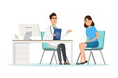 Medical concept. doctor with woman patient in flat cartoon on hospital hall
