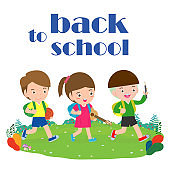 back to school, kids school, education concept, Kids go to school, Template for advertising brochure, your text, cartoon happy children, child and frame,Vector Illustration.