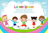 Kids jumping on the rainbow, children jump with joy, happy cartoon child playing on playground background, Template for advertising brochure,your text , Kids and frame,Vector Illustration